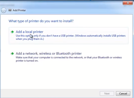 add a local printer windows 7
