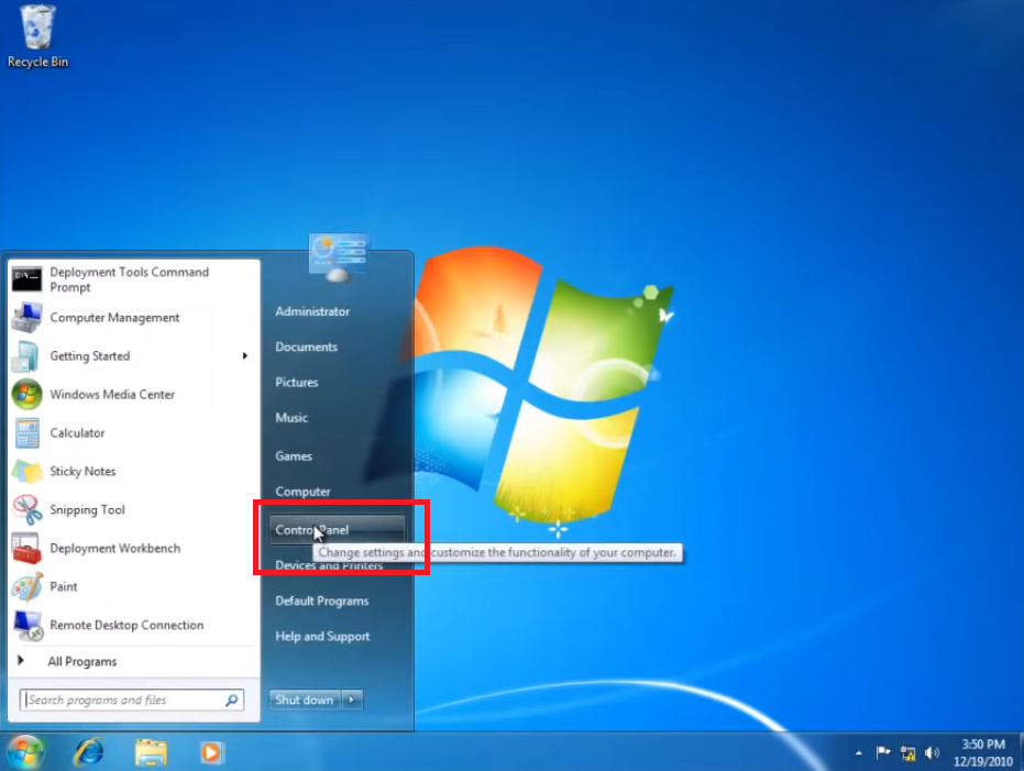 control panel option windows 7