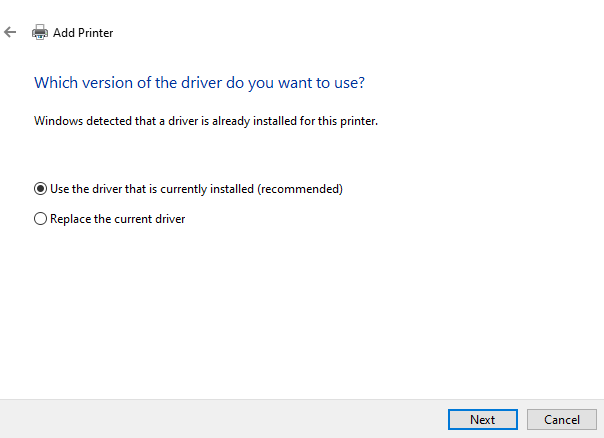 use the driver that is currenlty installed