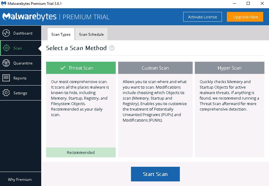 start scan malwarebytes