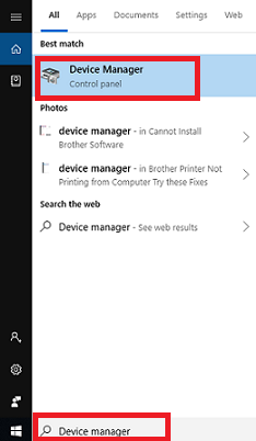 open device manager Brother Printer Driver Installation Problem