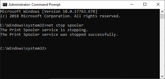 net stop spooler