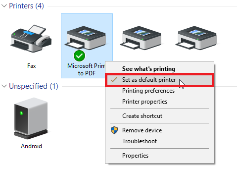 brother printer error state set as default printer