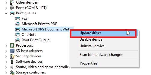 update driver to fix Printer Error 482