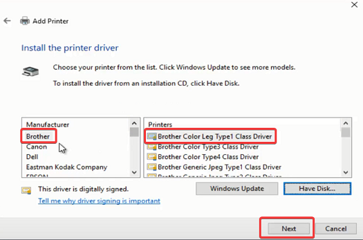 install the driver connect brother printer to computer