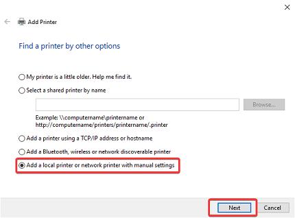 add a local printer option in Windows 10