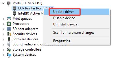 ports com update driver