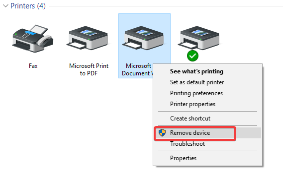 remove printer from control panel