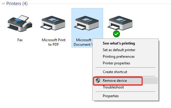 remove printer from control panel to Setup Epson Wireless Printer
