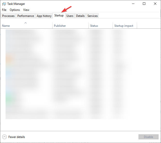 startup option inside the task manager