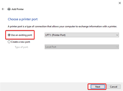use an existing port Brother Printer Driver Installation Problem