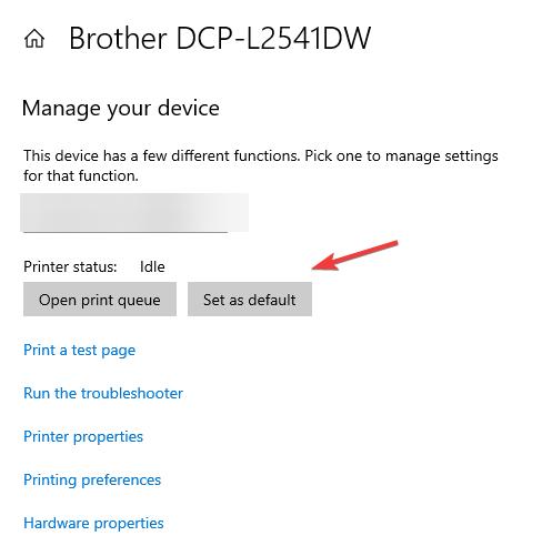 set as default printer epson
