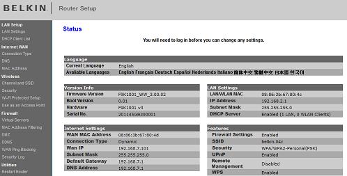 belkin router interface
