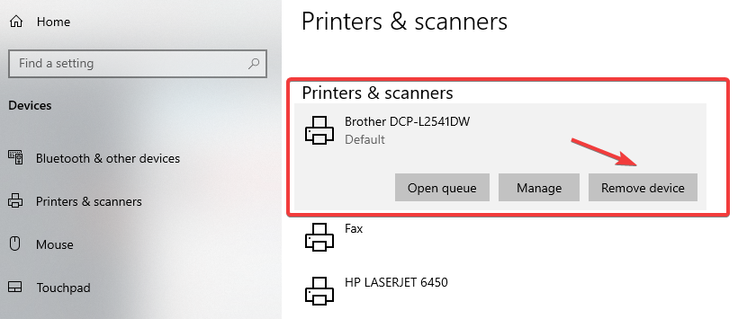 Remove device brother printer