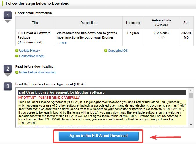 agree to the EULA and Downloads