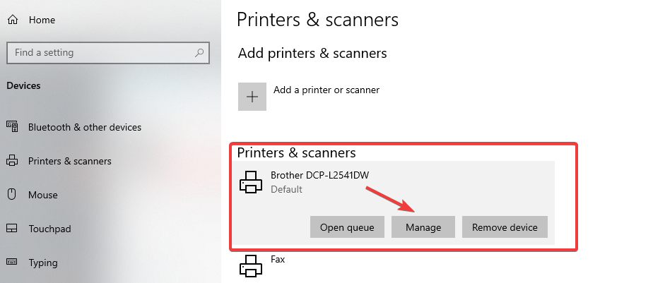 brother printer manage option