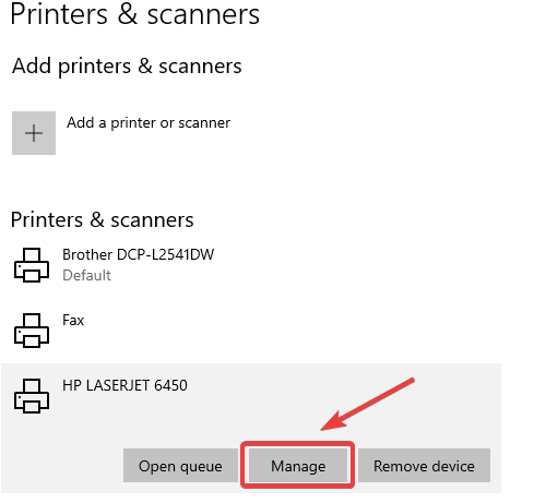 manage printers and scanners -  hp printer not working
