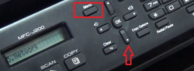 menu button brother scanner