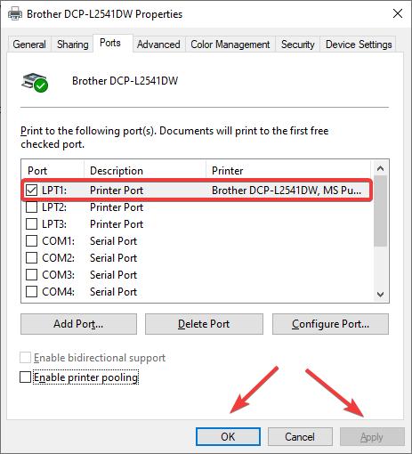 printer port apply ok