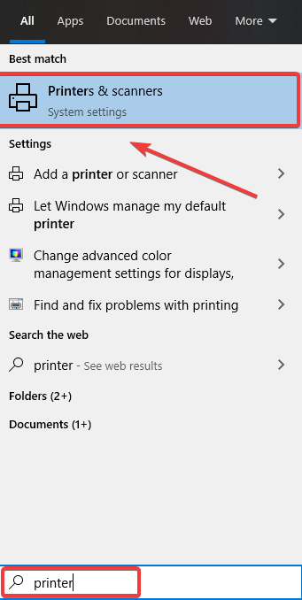 printers and scanners option windows 10