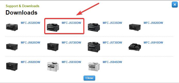 select printer model number