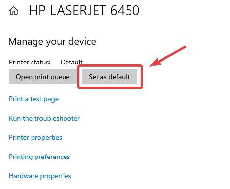 set as default printer - hp printer not printing