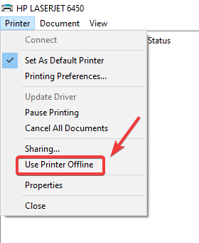 use printer offline