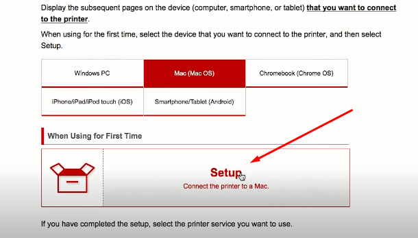 click on setup canon printer mac
