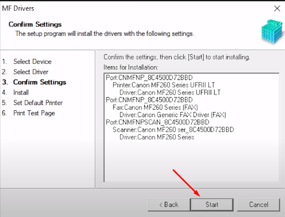 click start to install canon software