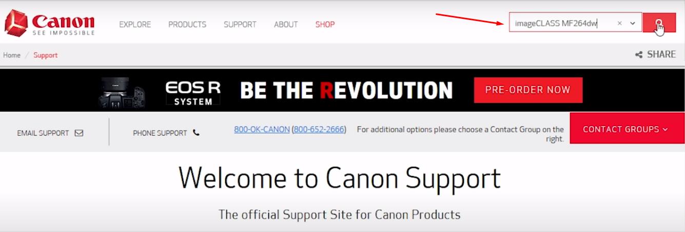 enter printer model number canon