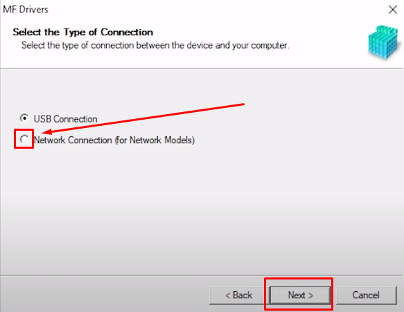 network connection canon software