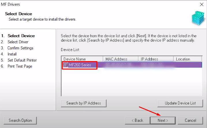 select model number and click next