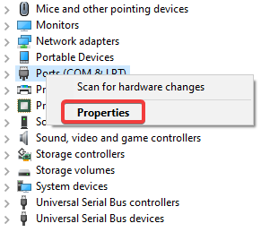 click on ports com & lpt and select properties