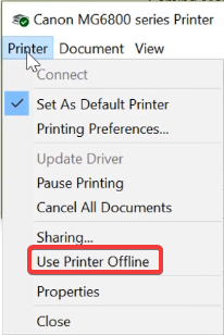 right-click on it and canon printer error state