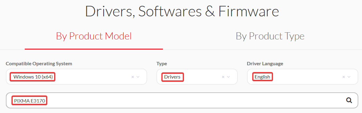 select type, language and model number and press enter
