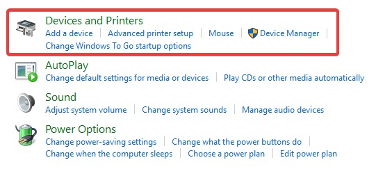 click on devices and printers