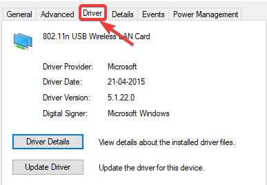 click on driver tab