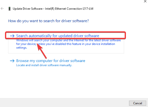 update driver software - Windows 10 Problems with Internet