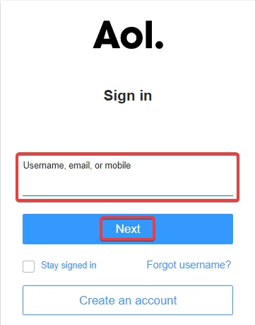enter your user name and click Next