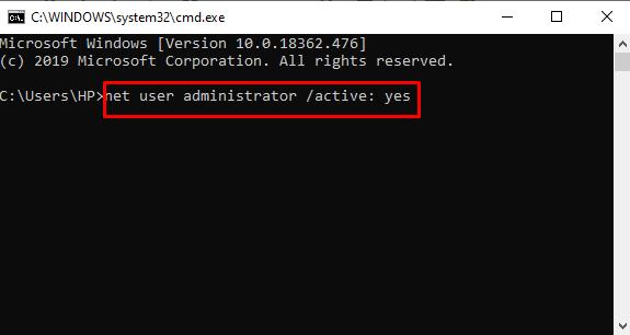 net user administrator