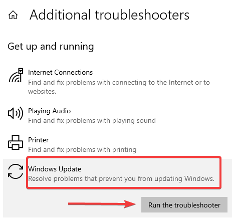 run the troubleshooter - Windows 10 Keeps Restarting