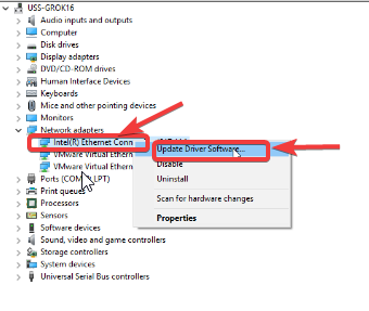 update your driver software - Windows 10 Problems with Internet