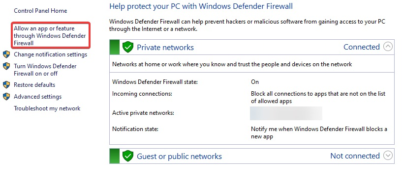 Click Allow app and feature through Windows Defender