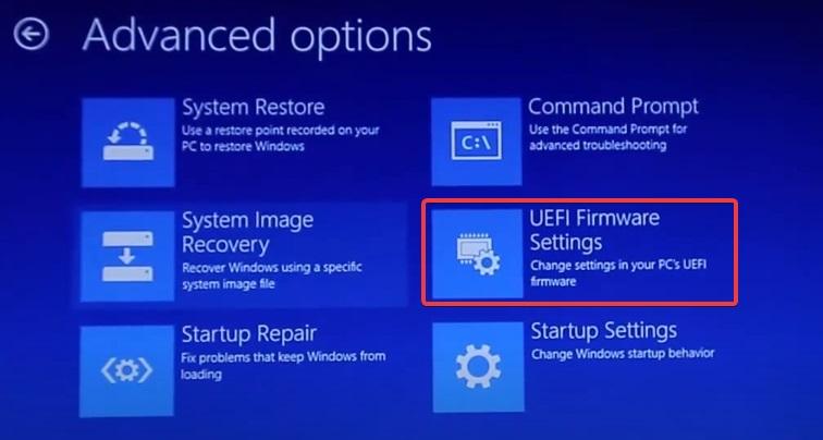 Click UEFI to fix Computer Randomly Turns Off