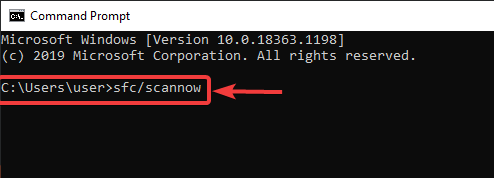 Enter command sfcscannow to fix Fatal Error in Kaspersky