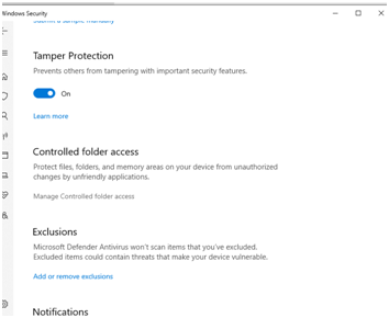 Manage Controlled Folder Access - virus and threat protection
