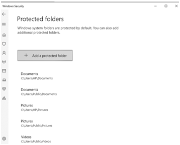 Protected Folders - virus and threat protection