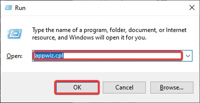 """Put """"appwiz.cpl"""" on the given bar"""