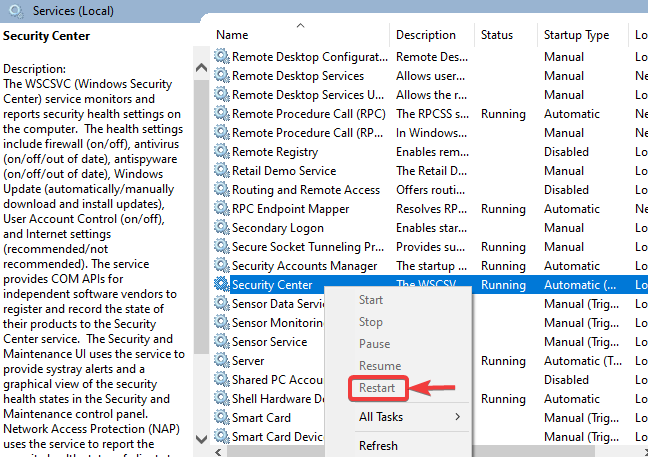 Restart security center - WINDOWS DEFENDER NOT WORKING