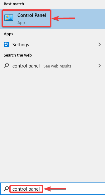 search for control panel to fix Airplane Mode Error